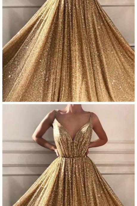 Princess Prom Dress With Sequins Floor-Length Gold Quinceanera Dress
