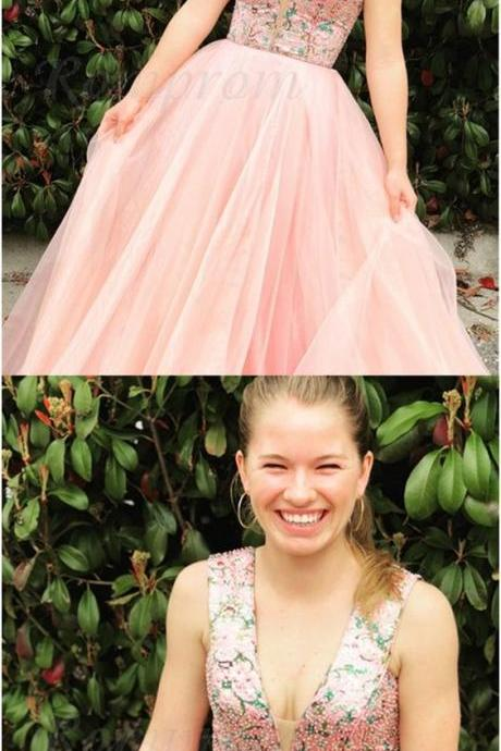 cute pink tulle prom dresses long,fashion v neck a line ball gown gradution party dress for teens