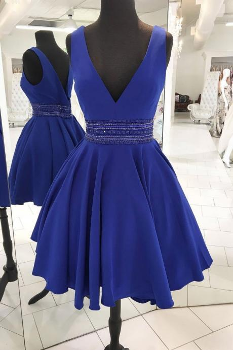 Cute V-Neck Beaded Homecoming Dress,A-Line Royal Blue Short Prom Dress