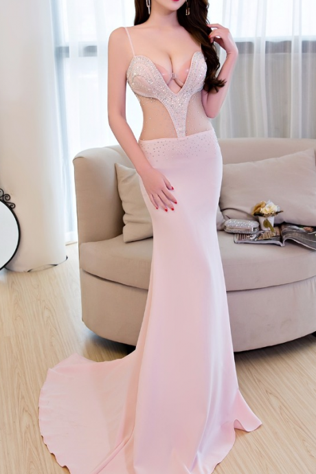 Long Evening Dresses With Beautiful Beads Lace Flowers Sexy Club Party Dresses vestidos Floor-Length Mermaid dresses