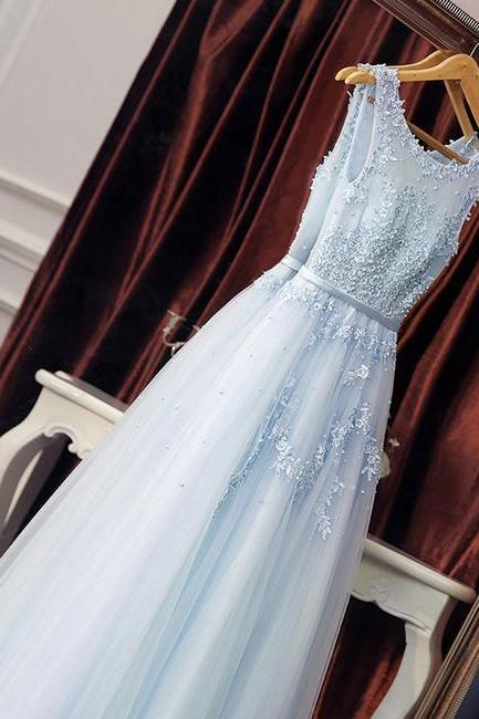 Elegant Light Sky Blue Tulle Long Prom Dresses with Appliques for Women