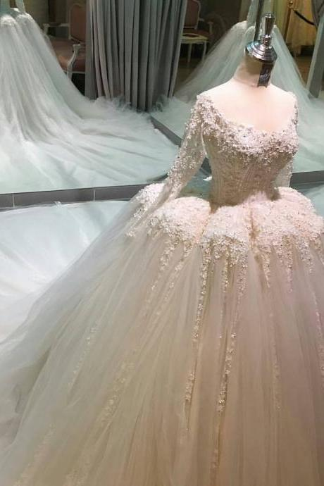 Wedding Dresses, Wedding Gown,ball gown wedding dresses with illusion back new design Princess Wedding Dresses, Long Bridal Dresses