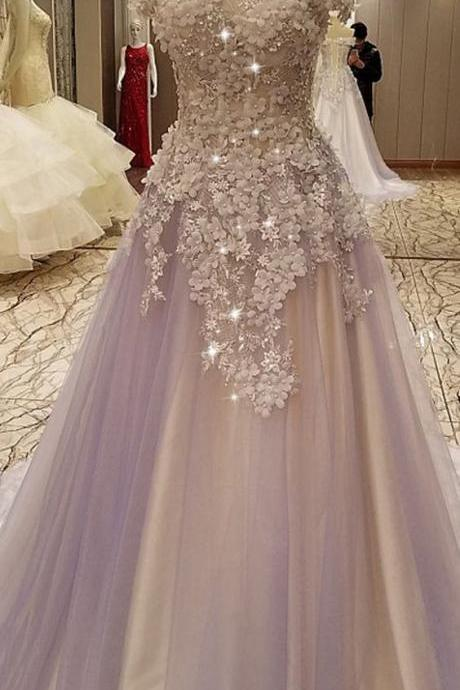 Modest Tulle Off-the-shoulder Neckline A-line Prom Dresses With Lace Appliques & Handmade Flowers,Custom Made,Party Gown,Evening Dress