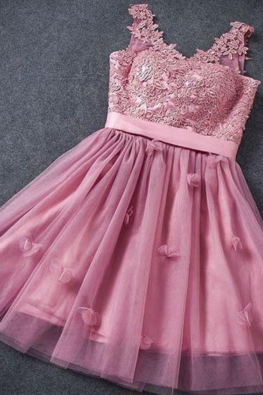 A-Line Homecoming Dress,Fuchsia Homecoming Dresses,Lace-Up Homecoming Dress,Short Homecoming Dress with Appliques