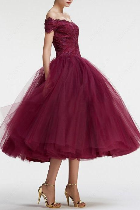 Burgundy Party Dresses,Off the Shoulder Prom Dress,Ball Gown Vintage Prom Dresses Tea Length