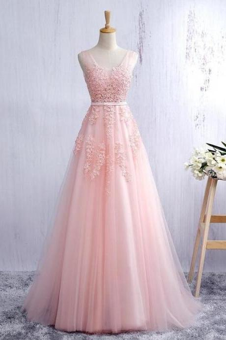 Women's V Neck Light Pink Tulle Prom Dress Lace Appliques
