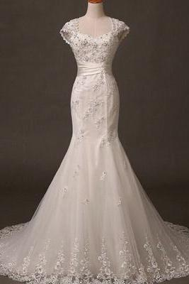 Cap Sleeve Mermaid Tulle Bridal Gowns Lace Appliques Beaded Women Dresses