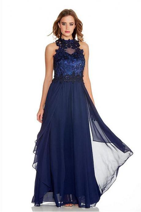 Chiffon High Collar Neckline A-line Bridesmaid Dresses With Beaded Lace Appliques