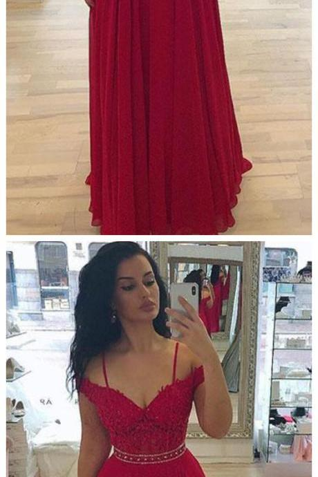 Fashion Red Lace Off Shoulder Prom Dress,Long Chiffon Skirt Evening Dress