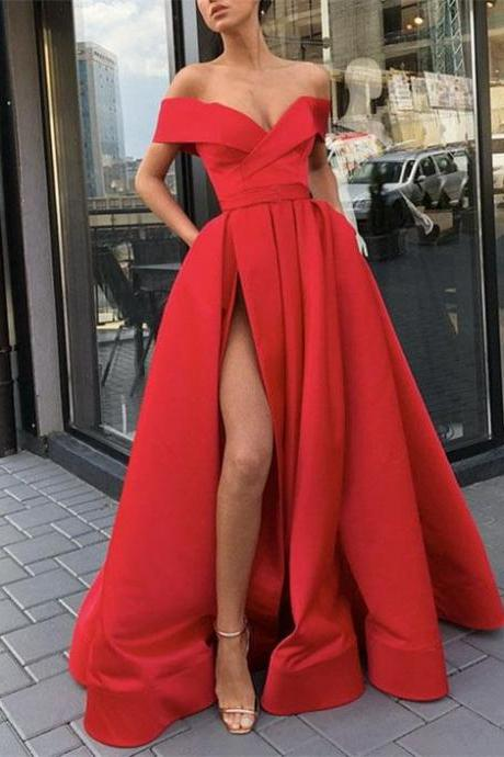 Off the Shoulder Red Prom Pageant Dress with High Slit