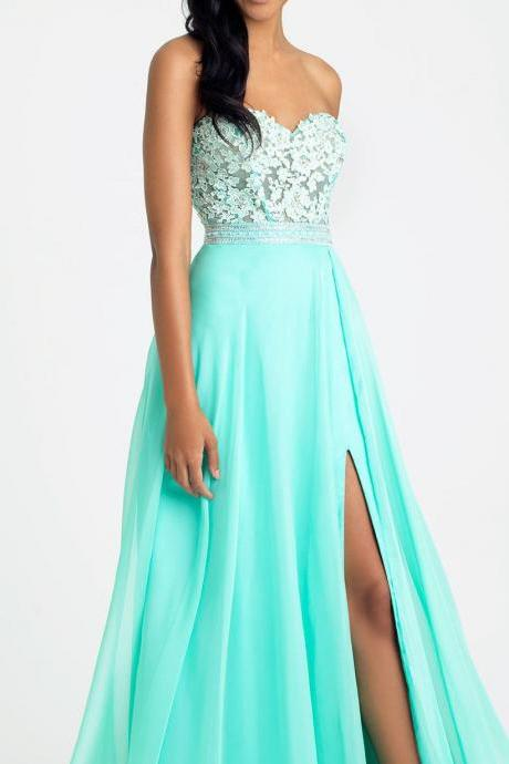 New Arrival Mint Green Lace Formal Prom Dresses A Line Chiffon Women Evening Gowns ,Plus Size Wedding Party Gowns