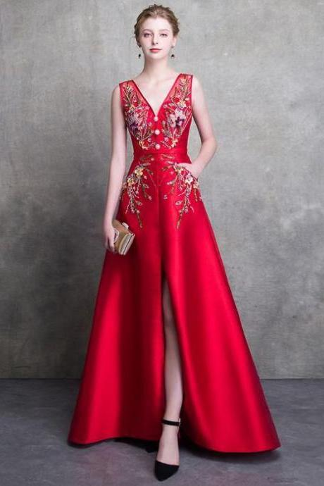 RED PROM DRESSES A-LINE LONG V NECK SATIN BEADING PROM DRESS EVENING DRESSES
