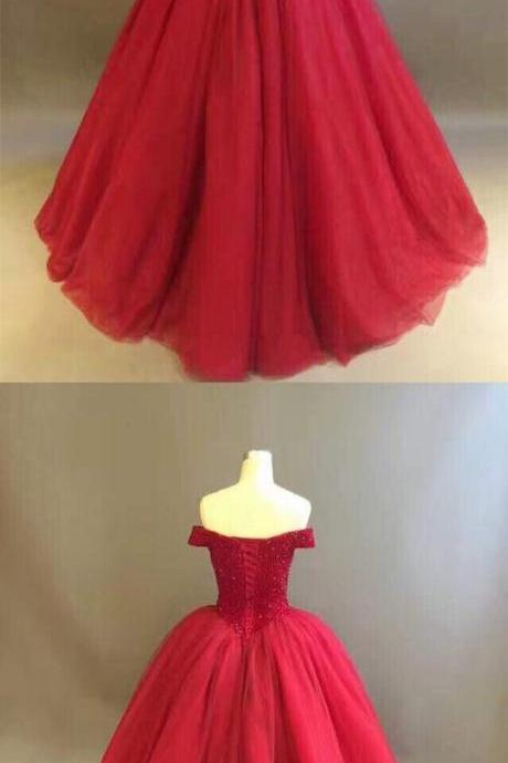 Off the Shoulder Ball Gown Red Tulle Prom Dress