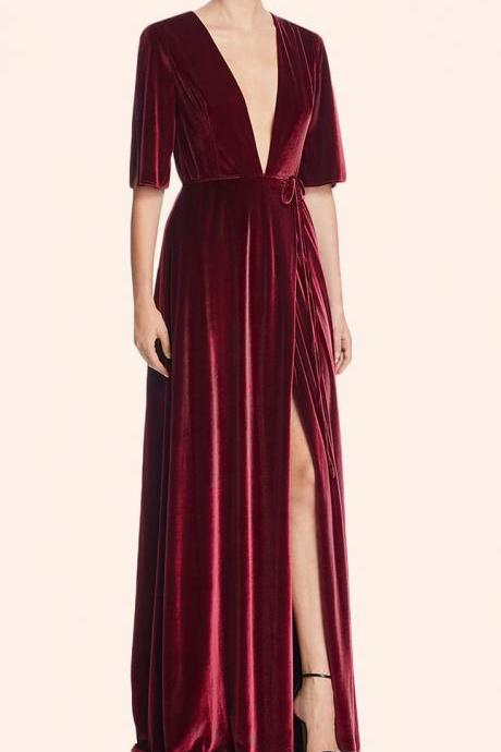 Deep V Neck Velvet Evening Gown Burgundy Formal Party Dress