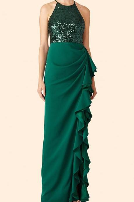 Halter Sequin Chiffon Long Prom Dress Dark Green Formal Evening Gown