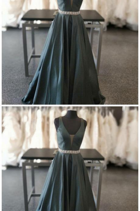 A-Line V-Neck Sweep Train Dark Green Satin Prom Dress with Beading