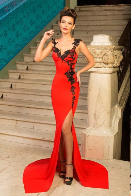 Sexy Red Mermaid Prom Dress,Split Dress,Long Party Dress, Floor-length Evening Dresses,Side Slit Prom Dresses