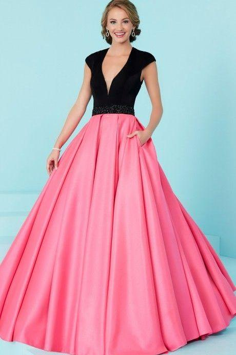 Pink Deep V Neck Prom Dress ,Custom Made,Party Gown,Cheap Evening dress