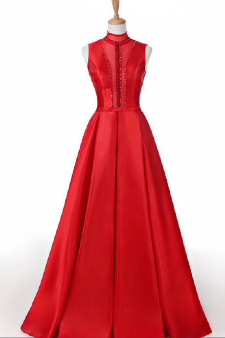 Custom Made Red High Neck Sequin Satin Lace-Up Open Back A-Line Prom Dress