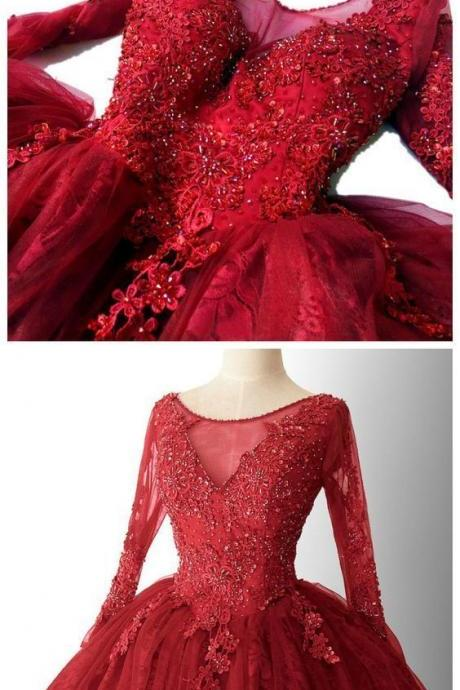 CHIC A-LINE RED HOMECOMING DRESSES LACE SHORT PROM DRESS LONG SLEEVE HOMECOMING DRESS