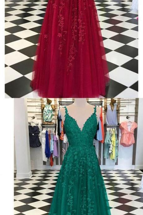 Burgundy /Turquoise /Green Fancy Girls Burgundy Lace Appliques Prom Dresses with Straps