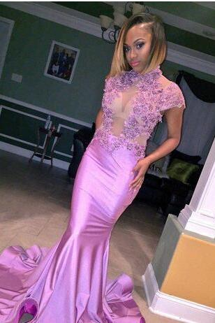 Attractive Lilac Mermaid Prom Dress,High Neck Cap Sleeves Prom Dress,Appliques Satin Prom Dresses,Floor Length Long Party Dresses