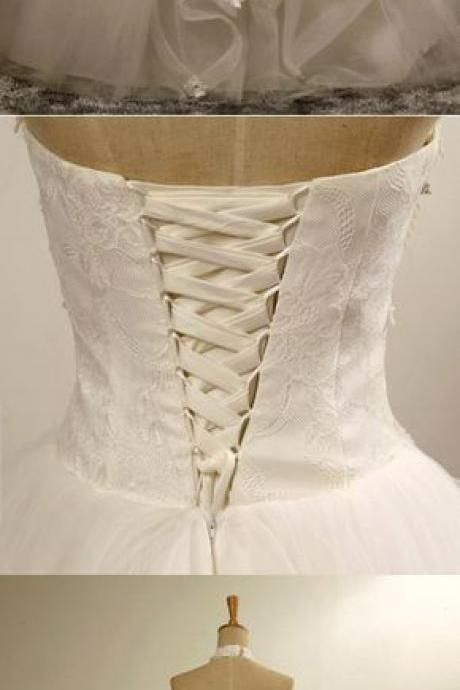 Halter Neck Lace-Up Ball Gown Floor-Length Beaded Lace Wedding Dress