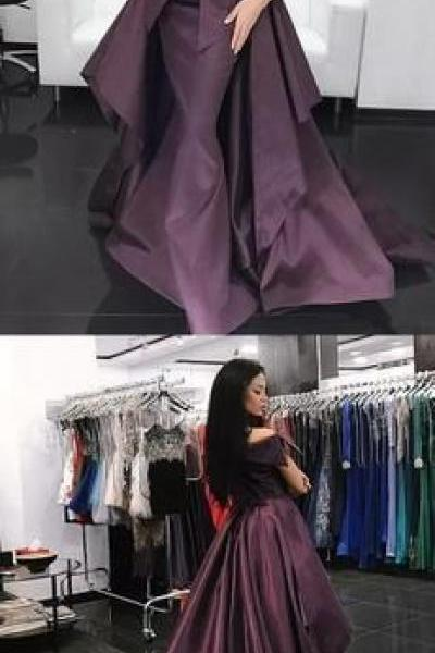 Grape Purple Off Shoulder Convertible Over skirt Prom Dresses