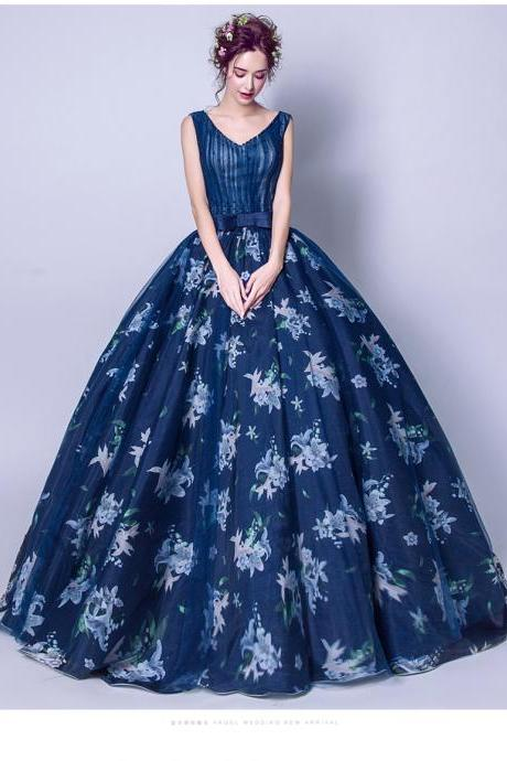 Sexy Ball Gown Quinceanera Dress Navy Blue Floral Lace Pricess Long Quinceanera Dress