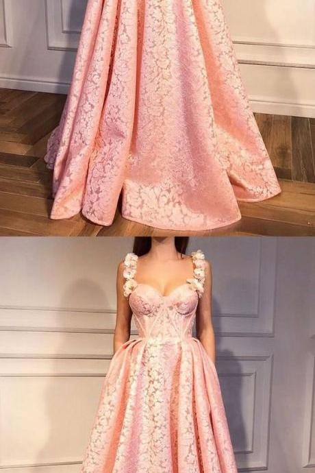 Plus Size Spaghetti Strap A Line Pink Lace Prom Dress, Floor Length Women Prom Gowns , Custom Made Party Gowns