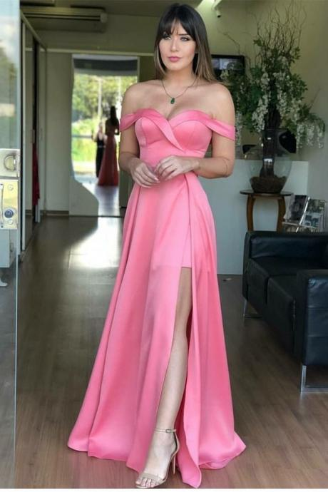 A-Line Off-the-Shoulder Pink Satin Prom Dress with Split