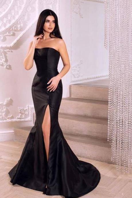 Simple Strapless Mermaid Black Long Evening Dress with Side Slit