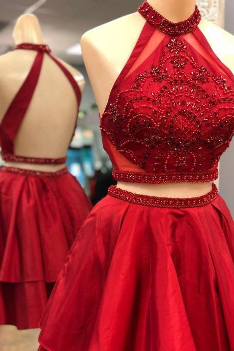 Two Piece Short Red Homecoming Dress with Backless