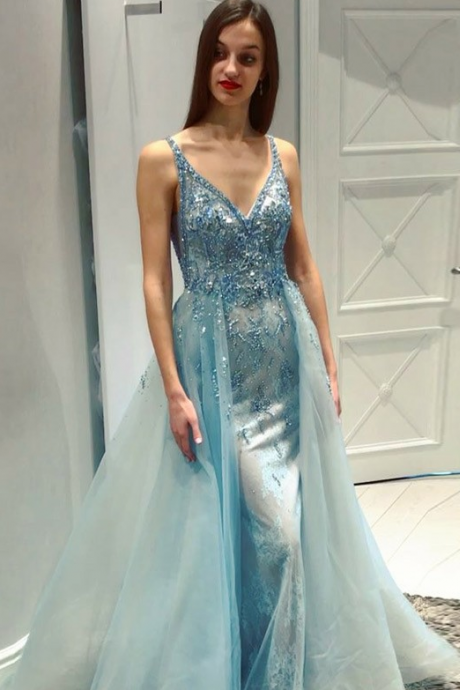 Mermaid V-Neck Detachable Light Blue Prom Dress with Beading