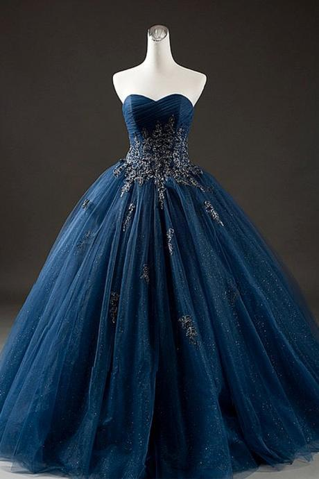 Elegant Navy Blue Tulle Sweetheart Neck Long Formal Prom Dress With Lace Applique