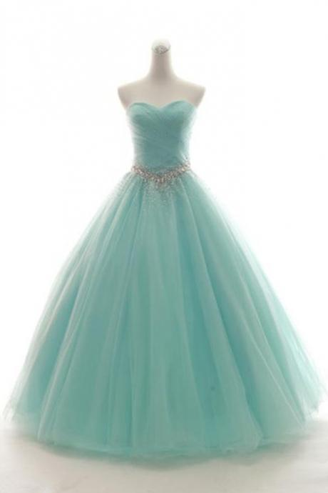 Sweetheart Neck Mint Tulle Sleeveless Floor-length Formal Prom Dress, Prom Gown