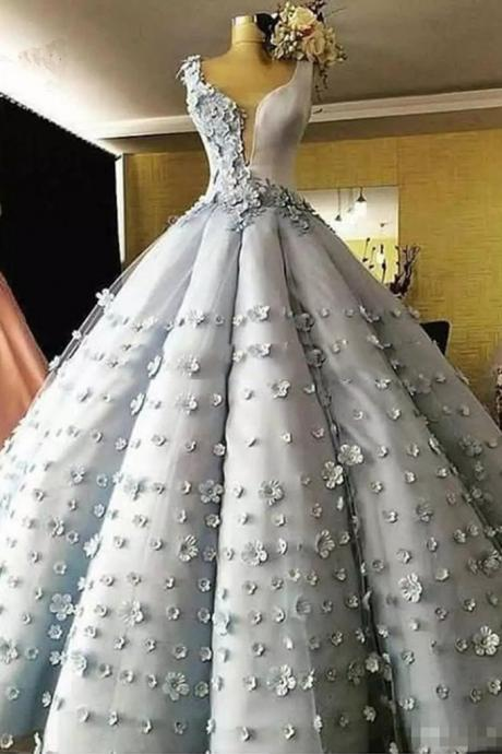 Princess gray tulle 3D flower lace long puffy ball gown, long formal prom dress