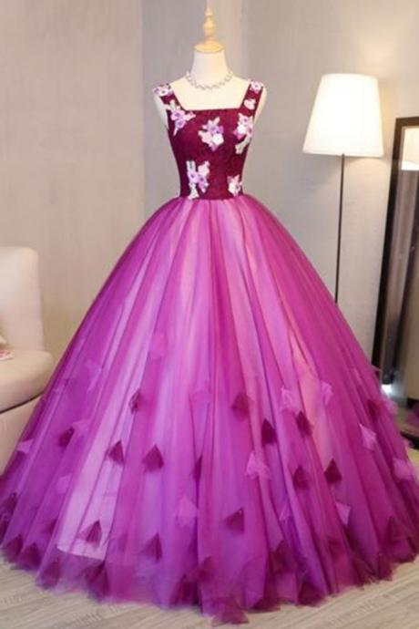 Hot pink tulle long halter burgundy lace top senior prom dress with applique