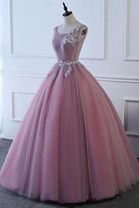 Pink tulle floor length senior prom dress with lace appliqués, long A-line halter evening dress