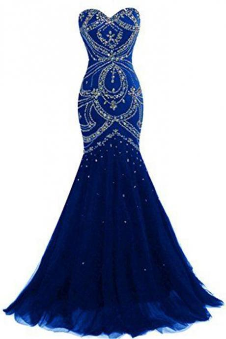 Luxury navy blue tulle sweetheart sequins beaded backless mermaid long prom dresses, evening dresses