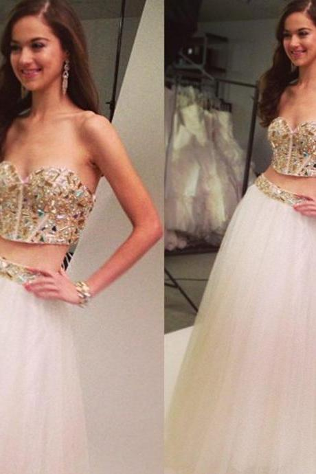 Two Pieces Sweetheart Prom Dresses