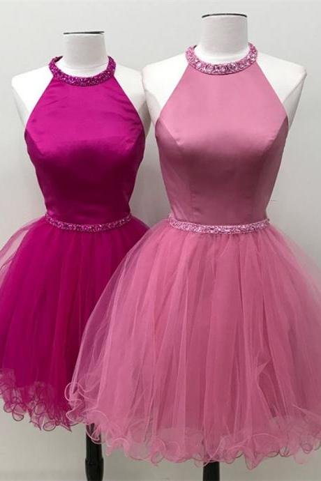 Halter Neck Short Tulle Homecoming Dress Beaded Floor Length Women Dress