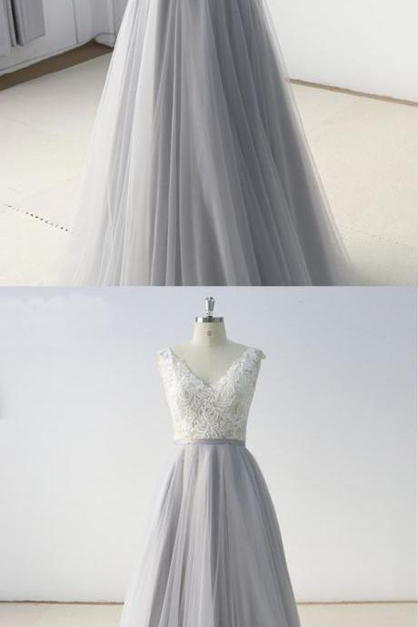 Gray Tulle A Line Long White Lace Evening Dress, Formal Dress