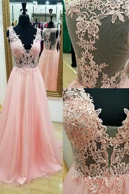 V-neck Pink Tulle Prom Dresses Lace Appliques Women Party Dresses