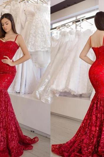 Sweetheart Bright Red Lace Evening Gown with Spaghetti Straps Prom Dress