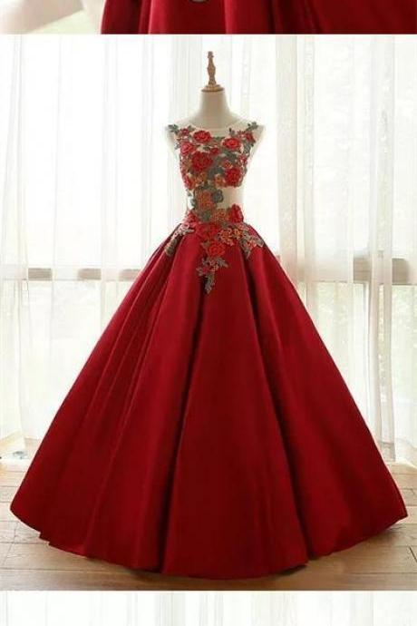 Ball Gown Prom Dresses Floor-length Appliques Burgundy Long Prom Dress/Evening Dress
