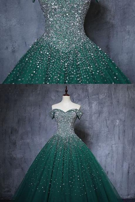 Beautiful Deep Green Tulle Beaded Off Shoulder Long Evening Dress, Formal Dress