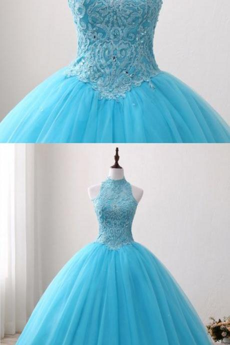 Blue Lace O Neck Strapless Long Tulle Quinceanera Dress, Formal Prom Gown