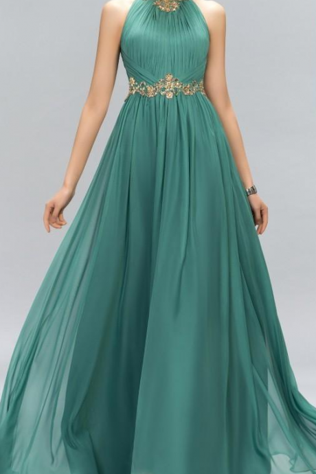 New Green Prom Dresses Halter Crystal Beads Ruffles A Line Long Modest Formal Evening Party Pageant Woman Gowns