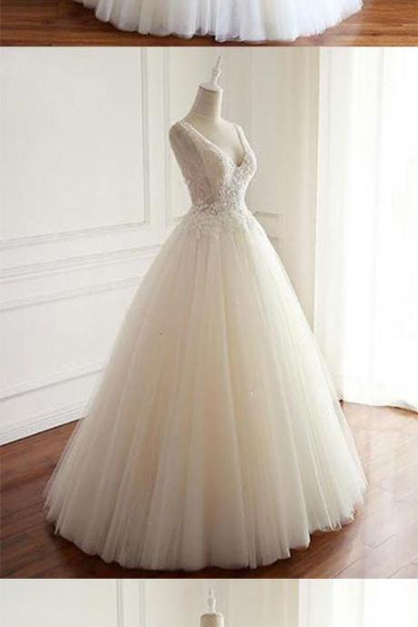 Charming V Neck White Tulle Wedding Dresses, Formal Wedding Gowns